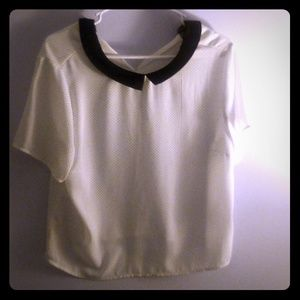 White Colared Short Sleeve Blouse